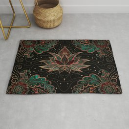 Lotus flower - Red Marble and Malachite Rug