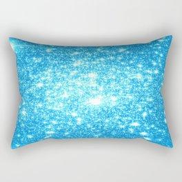 Sky Blue Sparkle Stars Rectangular Pillow