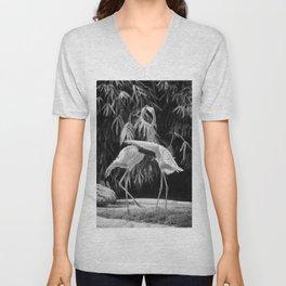 Flamingos (Black and White) Unisex V-Neck