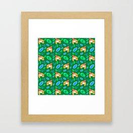 Pretty beautiful cute little birds and green blue delicate leaves green pattern. Gift ideas. Nursery Framed Art Print