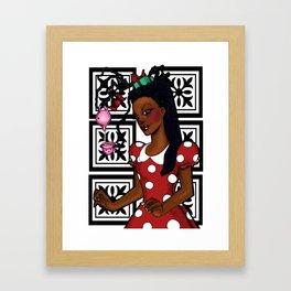 Polka dots and tea Framed Art Print