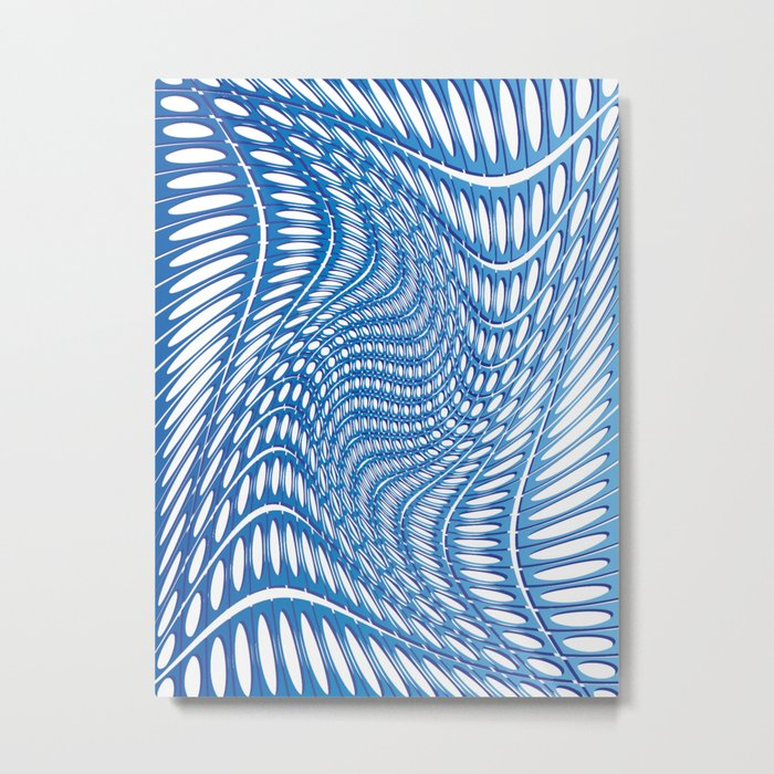 Optical Illusion in blue Metal Print