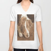 border collie V-neck T-shirts featuring Border Collie Puppy Wren by Yvonne Carter