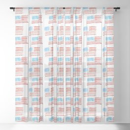 Flag of Usa 4 Chalk version- america,us,united states,american,spangled,star and strip Sheer Curtain