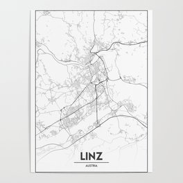 Minimal City Maps - Map Of Linz, Austria. Poster