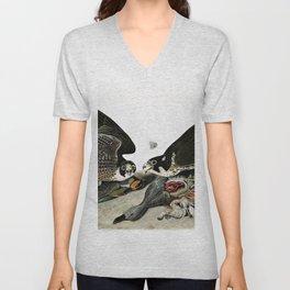 12,000pixel-500dpi - Peregrine Falcons Drawn - John James Audubon Unisex V-Neck