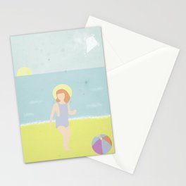 Girl at the beach with kite and ball in the 1950's vintage Stationery Cards