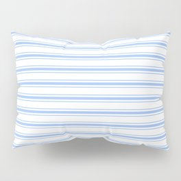 Mattress Ticking Wide Striped Pattern in Pale Blue and White Pillow Sham