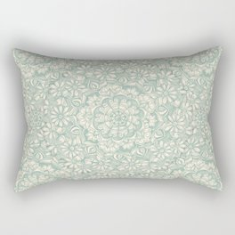 Sage Medallion with Butterflies & Daisy Chains Rectangular Pillow