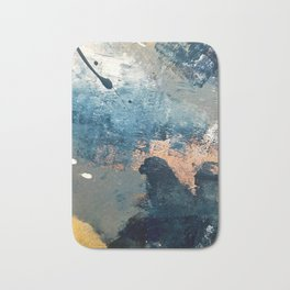 Wander [2]: a vibrant, colorful, abstract in blues, pink, white, and gold Bath Mat