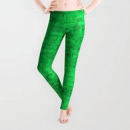 Bright Acid Green Neon Brick Wall Leggings