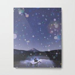 Canoe at Mount Fuji Metal Print