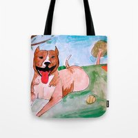 pit bull Tote Bags featuring Pit Bull by Caballos of Colour