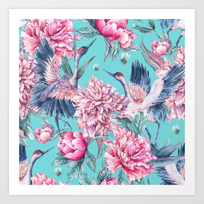 Teal peonies and birds Art Print