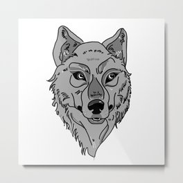 Moony-Eyed Wolf Metal Print