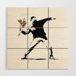 Banksy Flower Thrower Wood Wall Art