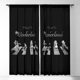 The Road To Wonderland - Black & White Blackout Curtain