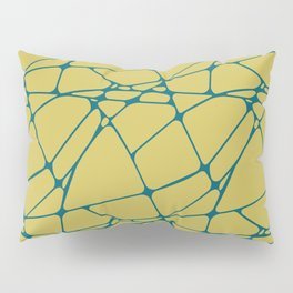 Tropical Dark Teal Abstract Mosaic Pattern 1 Inspired by Sherwin Williams 2020 Trending Color Oceanside SW6496 on Dark Yellow Pillow Sham
