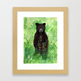 Cinnamon Black Bear Cub Framed Art Print