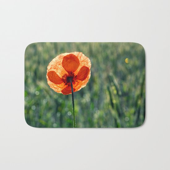 Poppy in a green meadow-Poppies and Flowers on #Society6 Bath Mat