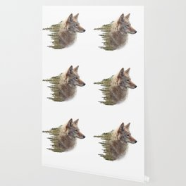 Double exposure of coyote portrait and pine forest on white background Wallpaper