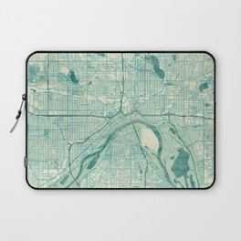 St Paul Map Blue Vintage Laptop Sleeve