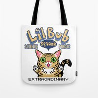 lil bub Tote Bags featuring Lil Bub - Special Edition by Paper Tiki