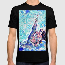 3047-JPC Abstract Nude in Blue Green Yoga Stretch Feminine Power T-shirt