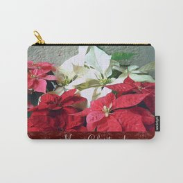 Mixed color Poinsettias 3 Merry Christmas S5F1 Carry-All Pouch