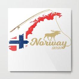 Norway map Angel Elch Metal Print