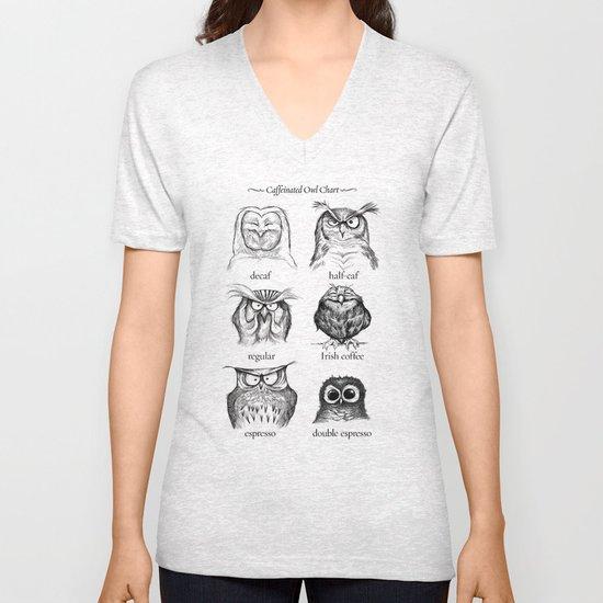 Caffeinated Owls Unisex V-Neck
