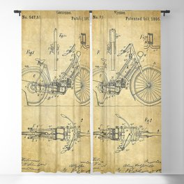 1895 A Wolfmuller Velocipede Motorcycle Patent - Blueprint Blackout Curtain