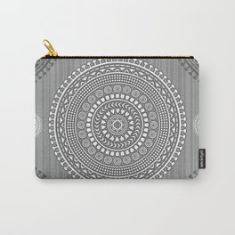 Decorative mandala pattern in gray tones. Carry-All Pouch