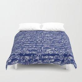 Hand Written Sheet Music // Midnight Blue Duvet Cover