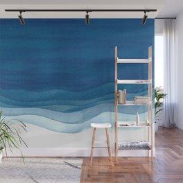 Watercolor blue waves Wall Mural