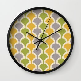 Classic Fan or Scallop Pattern 425 Gray Green and Yellow Wall Clock