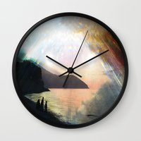 stay gold Wall Clocks featuring stay gold by Kiki collagist