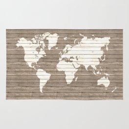 Wooden world map Rug