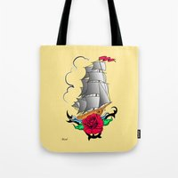 ship Tote Bags featuring ship by mark ashkenazi