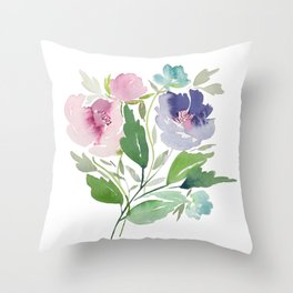 Purple and Pink Peonies Throw Pillow