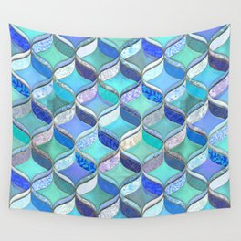 Patchwork Ribbon Ogee Pattern in Blues & Greens Wall Tapestry