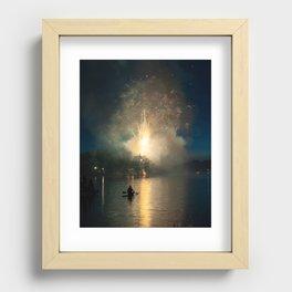 Fireworks on Crystal Lake Recessed Framed Print