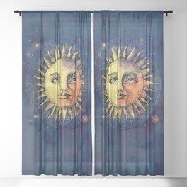 Celestial Antique Sun And Sky Watercolor Batik Sheer Curtain