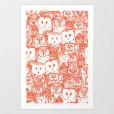 just owls flame orange Art Print