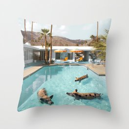 Pig Poolside Party Throw Pillow