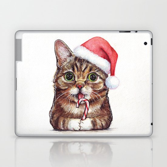 Cat in Santa Hat Whimsical Christmas Animals Laptop & iPad Skin
