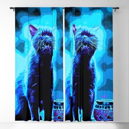 british shorthair cat ready to attack vector art moonlight Blackout Curtain