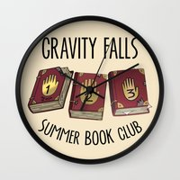 gravity falls Wall Clocks featuring Gravity Falls: Summer Book Club by pondlifeforme