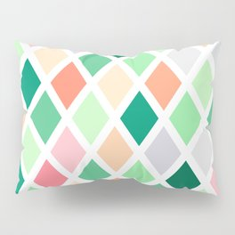 Pastel Green and Peach Diamond Patchwork Pillow Sham