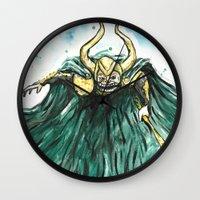 loki Wall Clocks featuring Loki by Crooked Octopus